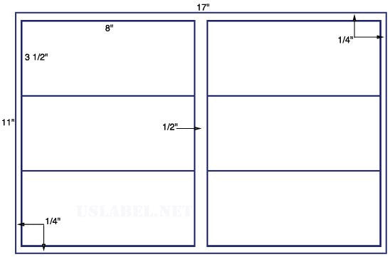 US5321 - 8'' x 3 1/2'' - 6 up label on a 11'' x 17'' sheet