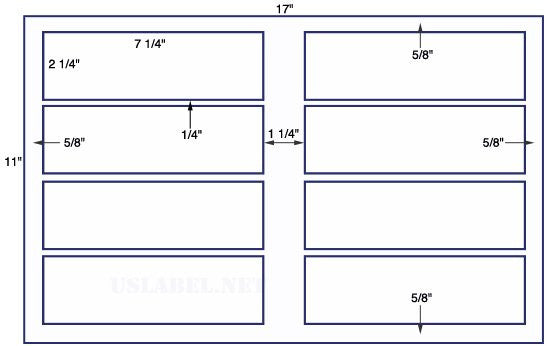 US5378 - 7 1/4'' x 2 1/4'' 8 up label on a 11'' x 17'' sheet