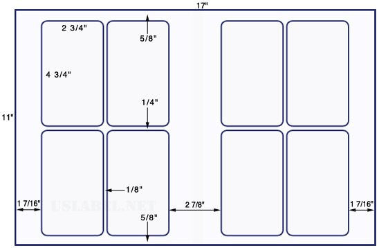 US5400 - 2 3/4'' x 4 3/4'' - 8 up label on a 11'' x 17'' sheet - 8,000 labels.