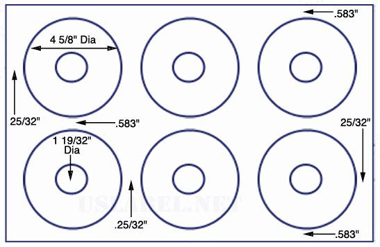 US8540 - 6 up 4 5/8'' diameter CD/DVD label on a 11'' x 17'' sheet -6,000 Labels