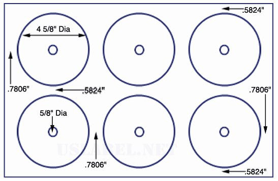 US8541- 6 up 4 5/8'' CD/DVD small hole on a 11'' x 17'' sheet - 6,000 Labels.