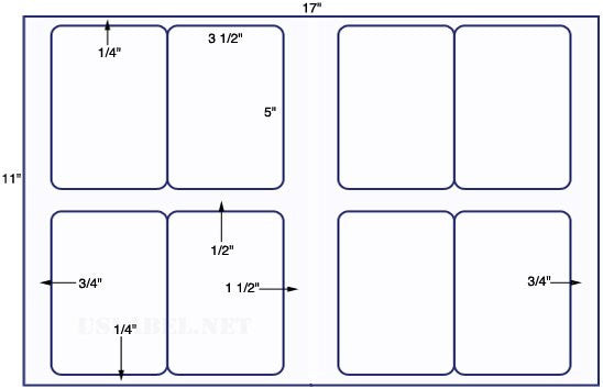 US5480 - 3 1/2'' x 5'' - 8 up label on a 11'' x 17'' sheet - 8,000 labels.
