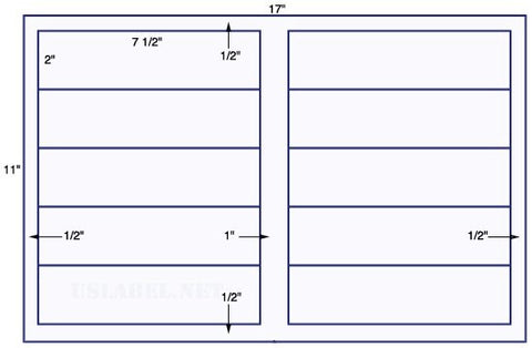 US5600 - 7 1/2'' x 2'' - 10 up label on a 11'' x 17'' sheet - 10,000 labels.