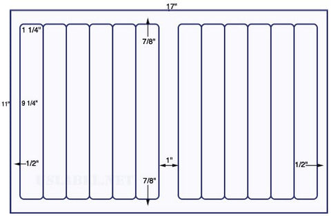 US5621 - 1 1/4'' x 9 1/4'' - 12 up label on a 11'' x 17'' sheet - 12,000 labels.