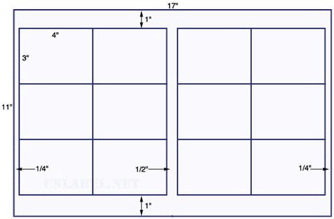 US5640 - 4'' x 3'' - 12 up label on a 11'' x 17'' sheet - 12,000 labels.