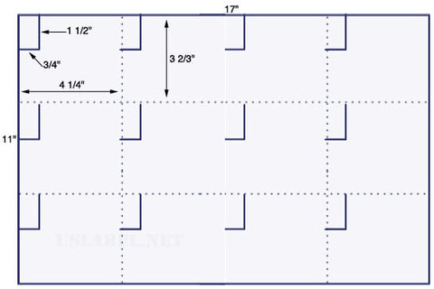 US5657 - 3/4'' x 1 1/2'' w/ Perfs.- 12 up on a 11'' x 17'' sheet - 12,000 labels