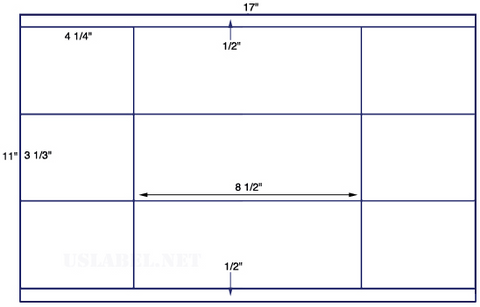 US5661 - 4 1/4'' x 3 1/3'' - 12 up label on a 11'' x 17'' sheet - 12,000 labels.