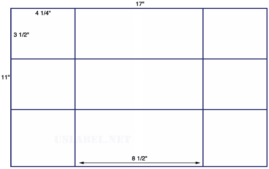 US5662 - 4 1/4'' x 3 1/2'' & 4'' - 12 up on a 11'' x 17'' sheet - 12,000 labels.