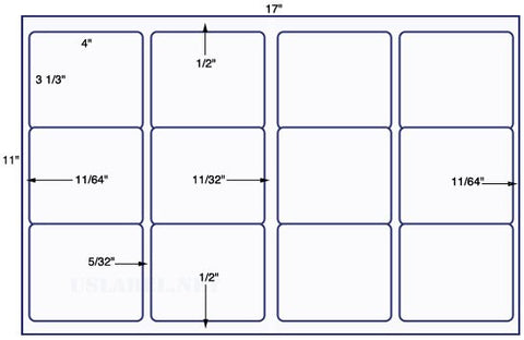US5680 - 4'' x 3 1/3'' - 12 up label on a 11'' x 17'' sheet - 12,000 labels.