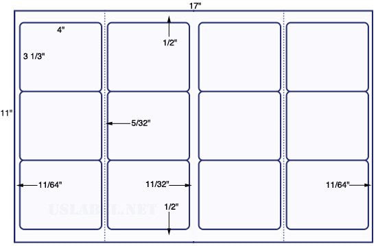 US5700 - 4'' x 3 1/3'' w perf-12 up label on a 11'' x 17'' sheet-12,000 labels.