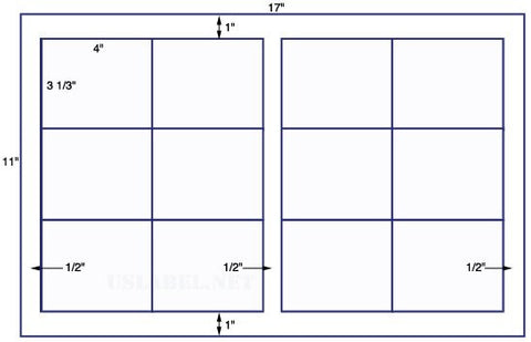 US5701 - 4'' x 3 1/3'' Sq cr- 12 up label on a 11'' x 17'' sheet-12,000 labels.