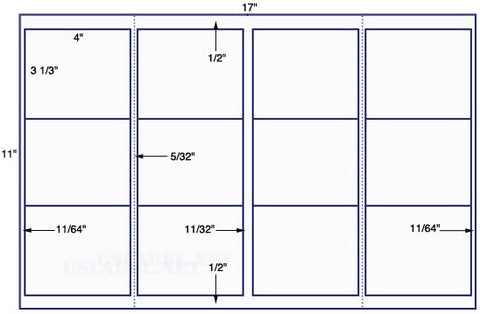 US5720-4'' x 3 1/3'' Sq corner w/perf-12 up 11'' x 17'' sheet-12,000 labels.