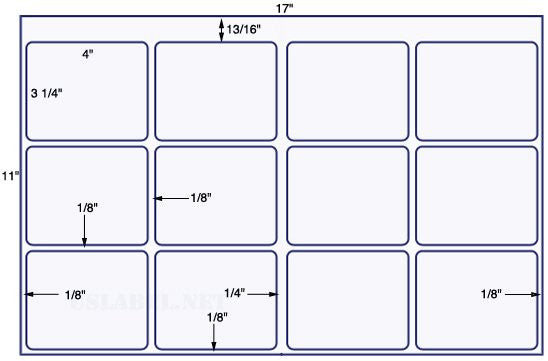 US5760-4'' x 3 1/4'' - w/gripper 12 up on a 11'' x 17'' sheet 12,000 labels.