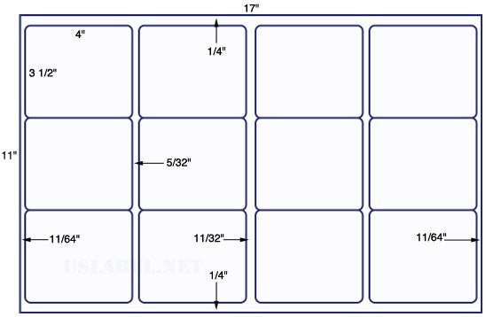 US5761 - 4'' x 3 1/2'' - 12 up label on a 11'' x 17'' sheet 12,000 labels.