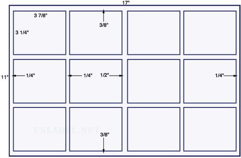 US5780 - 3 7/8'' x 3 1/4''-Sq. 12 up label on a 11'' x 17'' sheet 12,000 labels.