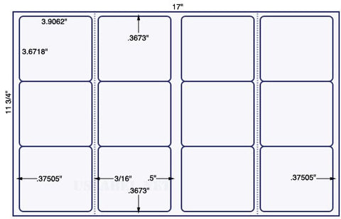 US5790 - 3 .9062'' x 3.6718'' - 12 up on a 11 3/4'' x 17'' sheet 12,000 labels.