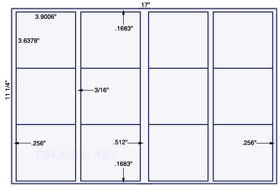 US5791 - 3 .9006'' x 3.63780'' - 12 up on a 11 1/4'' x 17'' sheet 12,000 labels.