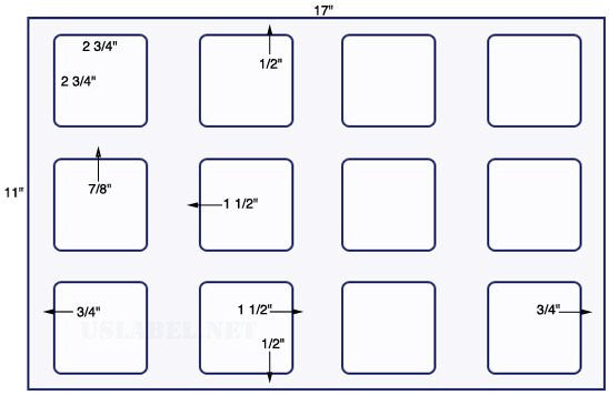 US5822 - 2 3/4'' x 2 3/4'' Square - 12 up on a 11'' x 17'' sheet 12,000 labels.