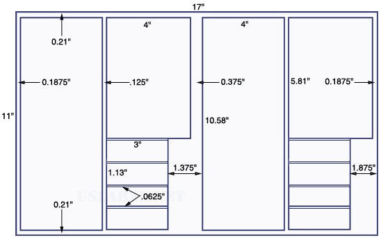 US5824-4'' x 10.58'',4'' x 5.81'',3'' x 1.13'' label -11'' x 17'' sheet.