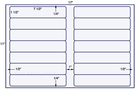 US5841 - 7 1/2'' x 1 1/2'' - 14 up label on a 11'' x 17'' sheet 14,000 labels.