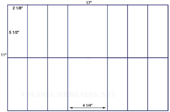 US5861 - 2 1/8'' x 5' 1/2'' - 16 up label on a 11'' x 17'' sheet 16,000 labels.