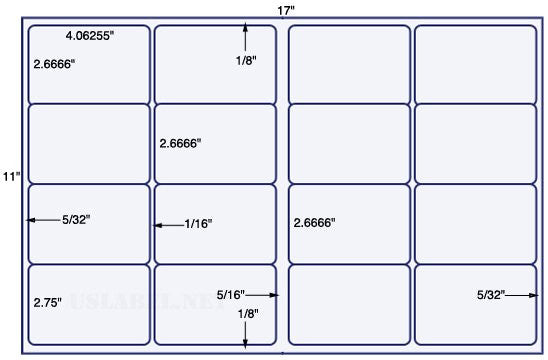 US5902- 4.06256'' x 2 2/3'' & 2 3/4''-16 up on a 11'' x 17'' sheet 16,000 labels