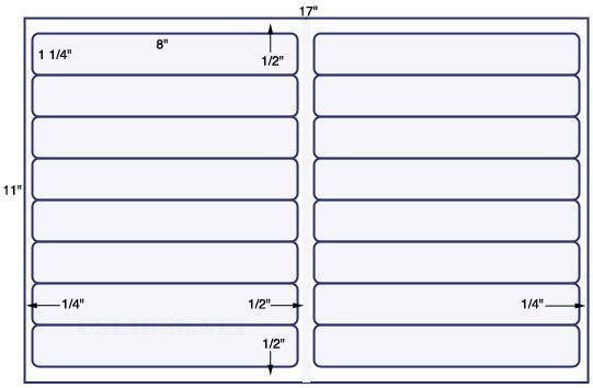US5970 - 8'' x 1 1/4'' - 16 up Label on a 11'' x 17'' sheet 16,000 labels.