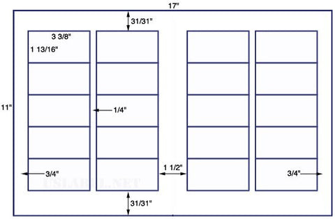 US6019 - 3 3/8'' x 1 13/16''-20 up label on a 11'' x 17'' sheet 20,000 labels.