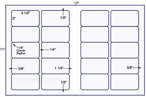 US6023 - 3 1/2'' x 2'' - 20 up label on a 11'' x 17'' sheet 20,000 labels.