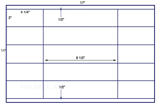 US6060 - 4 1/4'' x 2'' - 20 up label on a 11'' x 17'' sheet 20,000 labels.