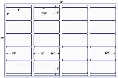 US7001 - 4'' x 2'' w/bars - 20 up label on a 11'' x 17'' sheet 20,000 labels.