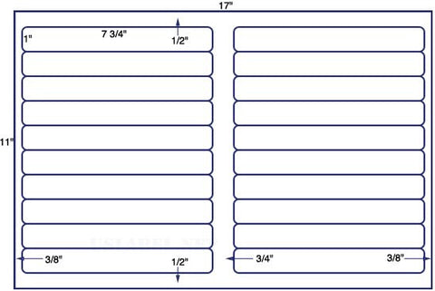 US7021 - 7 3/4'' x 1'' - 20 up label on a 11'' x 17'' sheet 20,000 labels.
