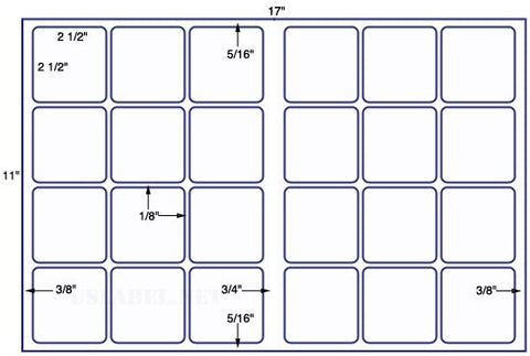 US7041 - 2 1/2'' x 2 1/2'' Square - 24 up on a 11'' x 17'' sheet 24,000 labels.