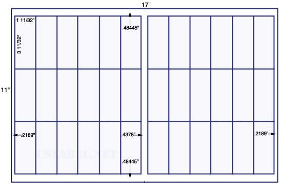 US7046 - 1 11/32'' x 3 11/32''-18 up label on a 11'' x 17'' sheet 18,000 labels.