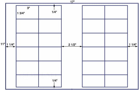 US7080 - 3'' x 1 3/4'' - 24 up label on a 11'' x 17'' sheet 24,000 labels.