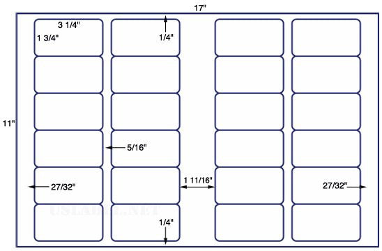 US7081 - 3 1/4'' x 1 3/4'' - 24 up label on a 11'' x 17'' sheet 24,000 labels.