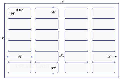 US7100 - 3 1/2'' x 1 5/8'' - 24 up label on a 11'' x 17'' sheet 24,000 labels.