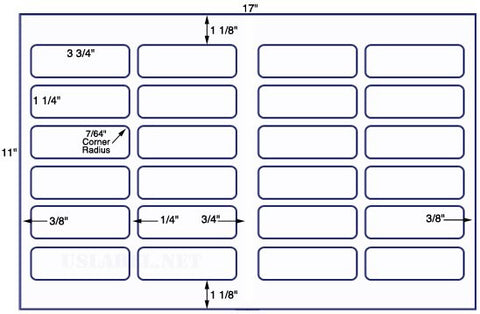 US7101 - 3 3/4'' x 1 1/4'' - 24 up label on a 11'' x 17'' sheet 24,000 labels.