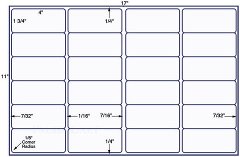 US7120 - 4'' x 1 3/4'' - 24 up label on a 11'' x 17'' sheet 24,000 labels.