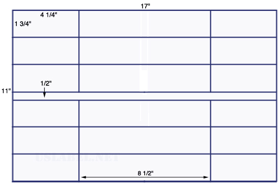 US7121 - 4 1/4'' x 1 3/4'' - 24 up label on a 11'' x 17'' sheet 24,000 labels.