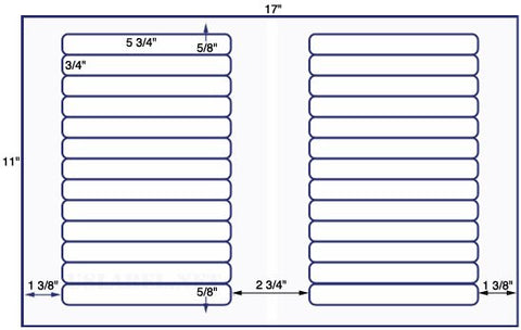 US7130 - 5 3/4'' x 3/4'' - 26 up label on a 11'' x 17'' sheet 26,000 labels.