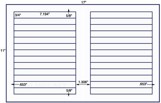 US7131 - 7.194'' x 3/4'' - 26 up label on a 11'' x 17'' sheet 26,000 labels.