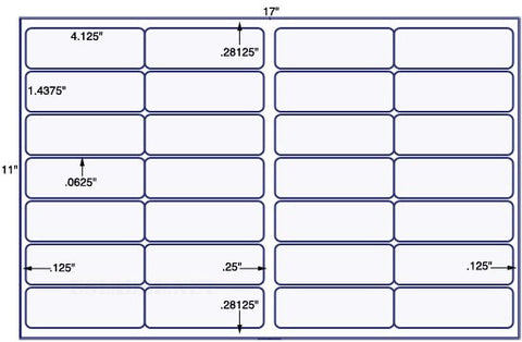 US7140 - 4 1/8'' x 1 7/16'' - 28 up label on a 11'' x 17'' sheet 28,000 labels.