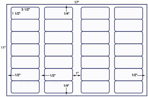US7160 - 3 1/2'' x 1 1/2'' - 28 up label on a 11'' x 17'' sheet 28,000 labels.