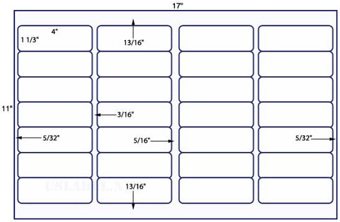 US7180 - 4'' x 1 1/3'' - 28 up label on a 11'' x 17'' sheet - 28,000 labels.