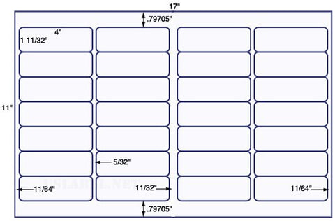 US7185 - 4'' x 1 11/32'' - 28 up label on a 11'' x 17'' sheet - 28,000 labels.