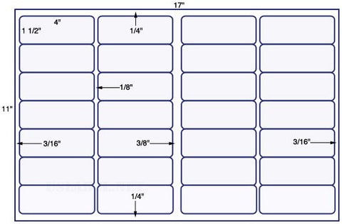 US7200 - 4'' x 1 1/2'' - 28 up label on a 11'' x 17'' sheet - 28,000 labels.