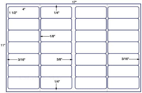 US7220 - 4'' x 1 1/2'' w/perfs-28 up label on a 11'' x 17'' sheet-28,000 labels.