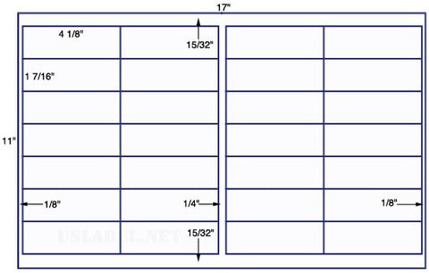 US7230 - 4 1/8'' x 1 7/16''-28 up label on a 11'' x 17'' sheet - 28,000 labels.