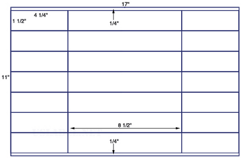 US7240 - 4 1/4'' x 1 1/2'' - 28 up label on a 11'' x 17'' sheet - 28,000 labels.
